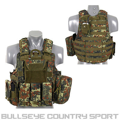 Fields Tactical Combat Vest Fully Loaded German Flecktarn