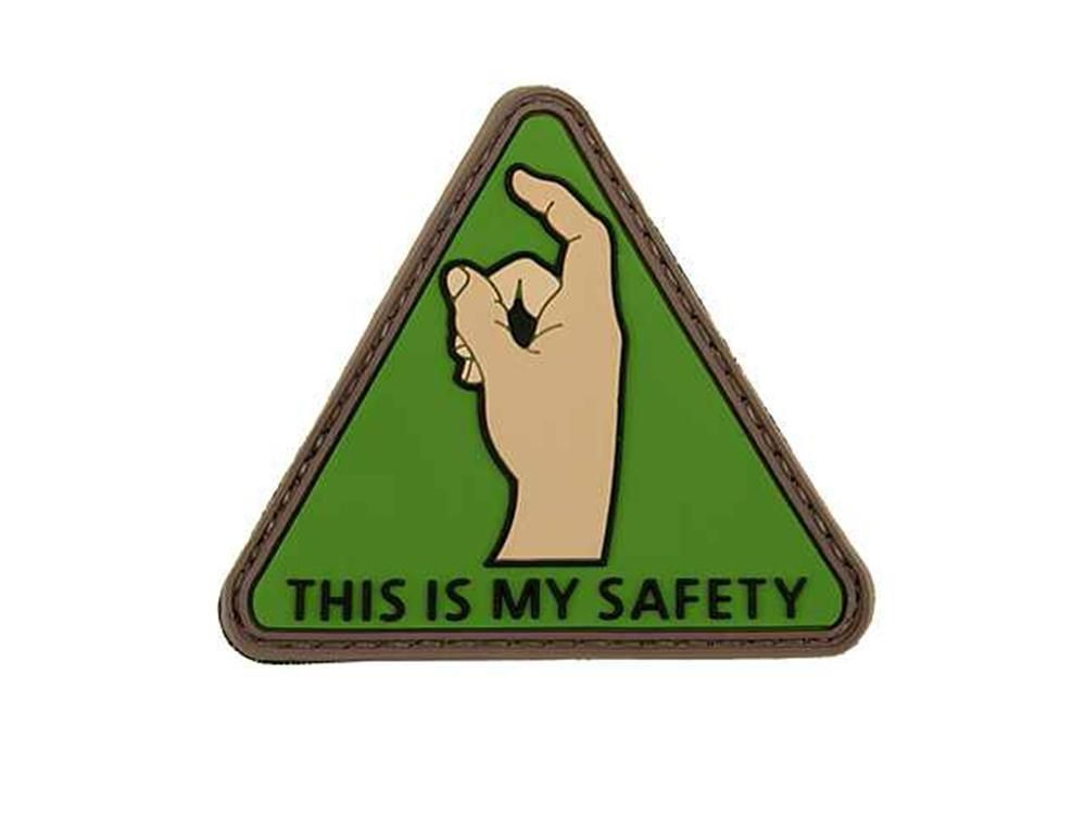 Cobra Airsoft Rubber Moral Patch This Is My Safety Finger Green 6mm bb's