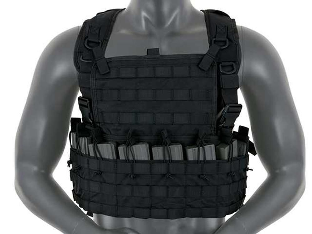 Fields Airsoft Rifleman Molle Chest Rig Harness Black Holds 8 Mags 1036