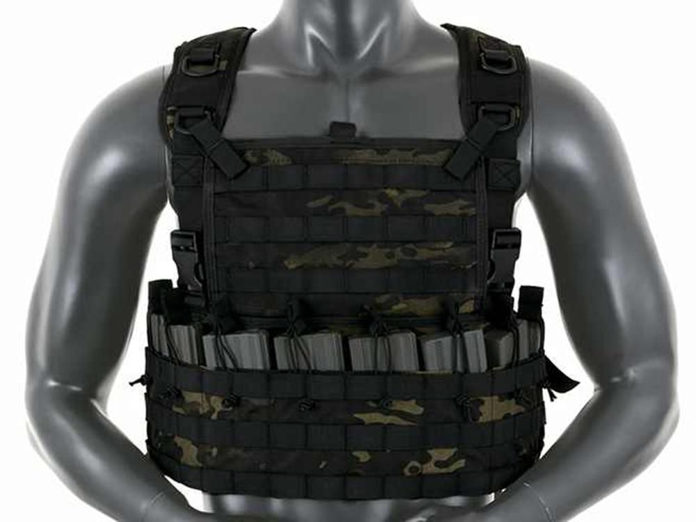 Fields Airsoft Rifleman Molle Chest Rig Harness Multi Black Holds 8 Mags 1036MB