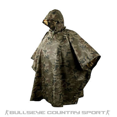 HELIKON HOODED MILITARY STYLE PONCHO POLISH WOODLAND CAMO WATERPROOF RIPSTOP