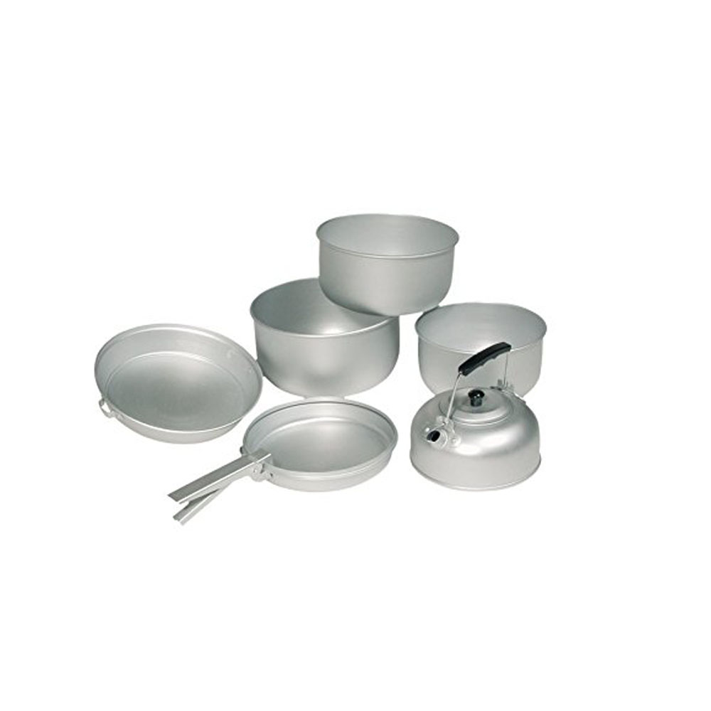 Mil-Tec Aluminium 6 Piece Pots Pan Pot Cooking Set Camping Fishing Hiking #1000