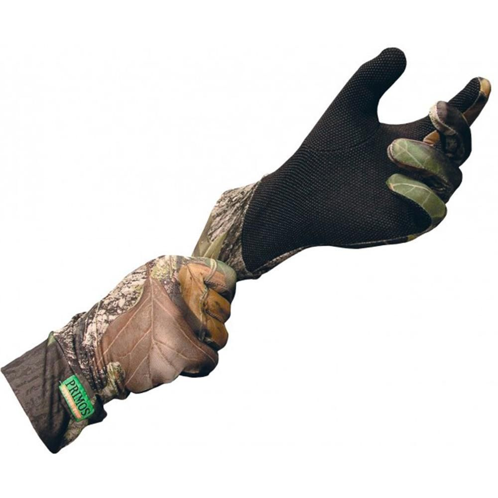 Primos Stretch-Fit Gloves With Sure Grip Realtree APG Camo Hunt Shoot Fish #6676