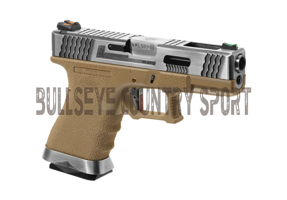 WE 19 CUSTOM METAL VERSION GAS BLOW BACK AIRSOFT PISTOL Tan / Chrome Slide